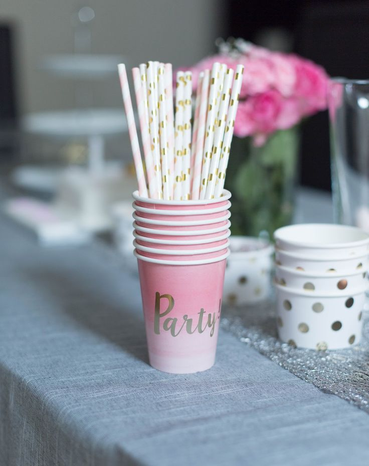 Stylish kids birthday party ideas on the blog. Budget tips. Hobby craft Accessories. Gold paper straws.