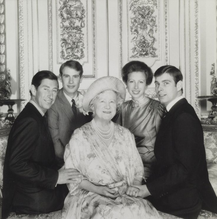 Queen Elizabeth the Queen Mother on her birthday with four of her ...