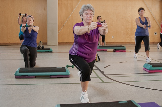 Using fitness accessories during our Parry Sound YMCA's aerobics fitness classes