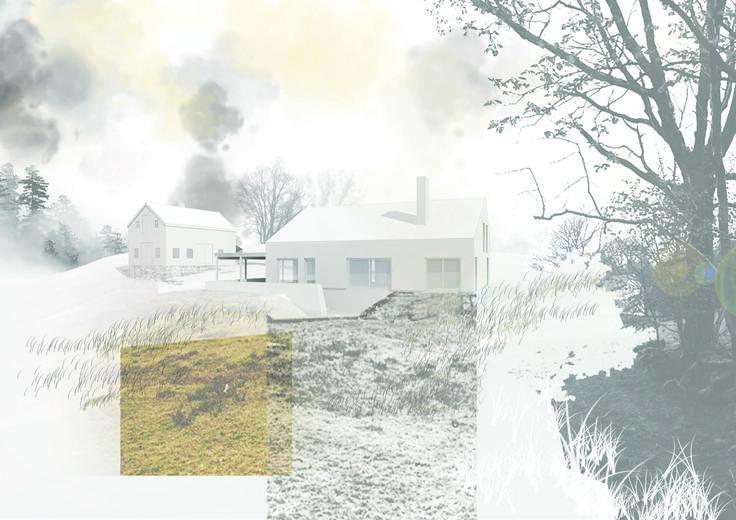 Architectural rendering + Collage //Illustrator + Photoshop // Modern interpretation of norwegian barn house // Arkitektkontoret Brekke Helgeland Brekke AS