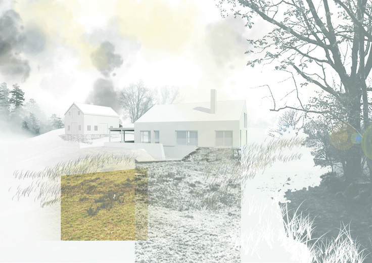 Architectural rendering + Collage //Illustrator + Photoshop // Modern interpretation of norwegian barn house // Arkitektkontoret Brekke Helgeland Brekke AS