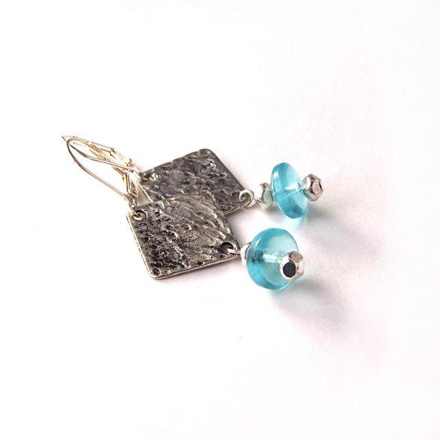 Boucles d'oreilles Azur turquoise et argent - Bijoux Losange