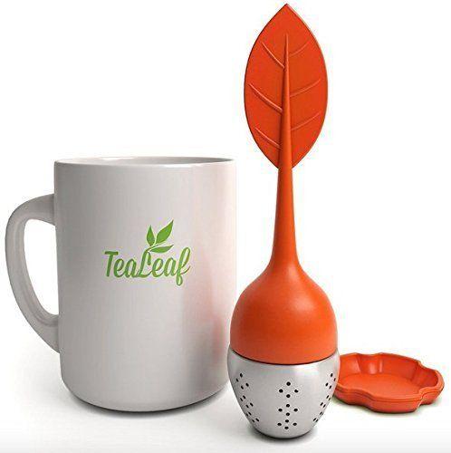 TeaLeaf Tea Infuser Strainer Filter Steeper- Stainless Steel Ball For Loose Herbal Leaves BPA-Free (Tawny Orange)