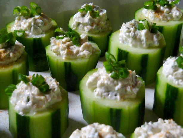 Blue cheese cucumber cups