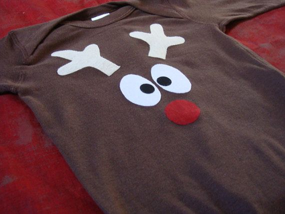 Easy to make reindeer onesie/shirt. For the onesie, add a little tail on the back.