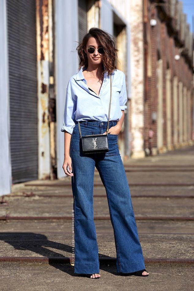 wavy bob, blue button down shirt, Saint Laurent mini bag & high waisted wide-leg jeans #style #fashion #streetstyle