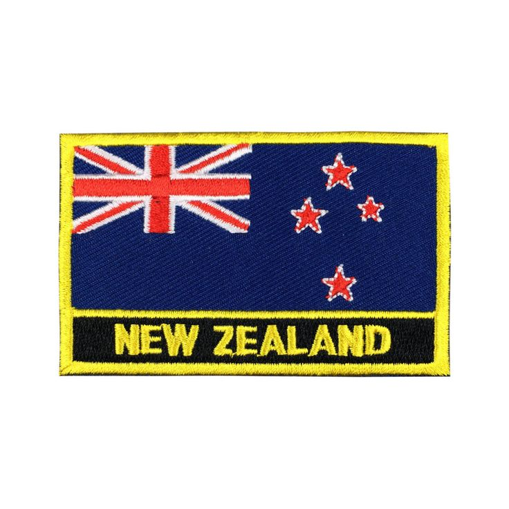 New Zealand Flag Patch Embroidered Patch Gold Border Iron On patch Sew on Patch Bag Patch meet you on www.Fleckenworld.com