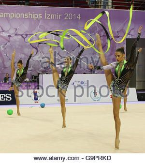 Tsvetelina Stoyanova from Bulgaria performing with the Bulgarian group during 33rd Rhythmic Gymnastics World Championships - Stock Image