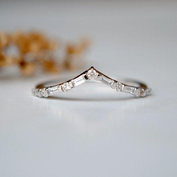 af514b7ad7872 Chevron V Ring. Round Baguette Diamond Ring. Stackable Bridal 14K ...