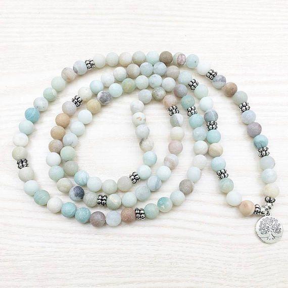 108 Mala Wrap Bracelet or Necklace Matt Amazonite silver Tree