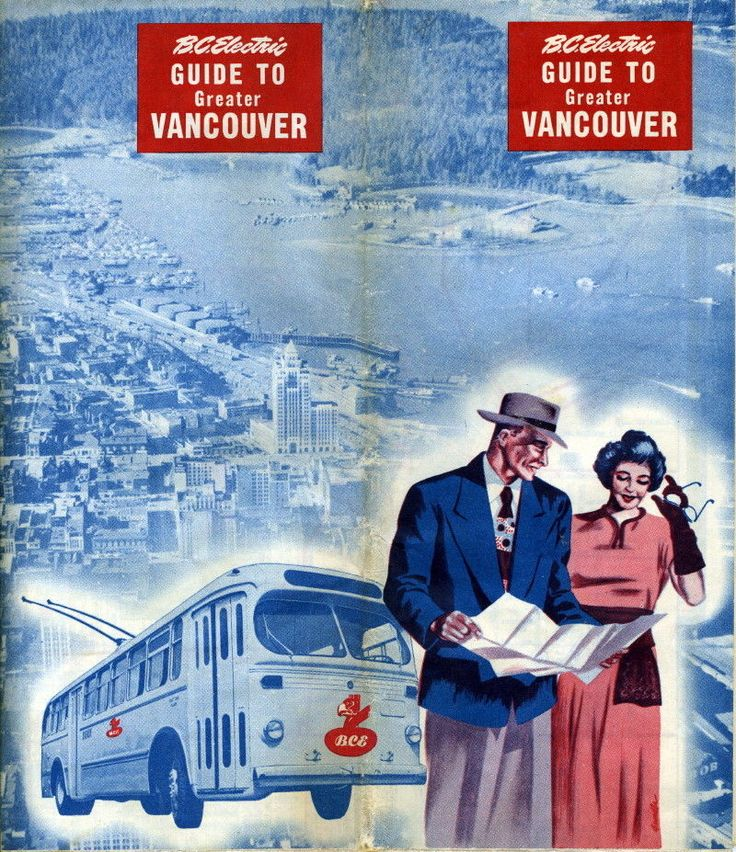 BC Electric bus schedule from the '50's. Vancouver BC Canada.