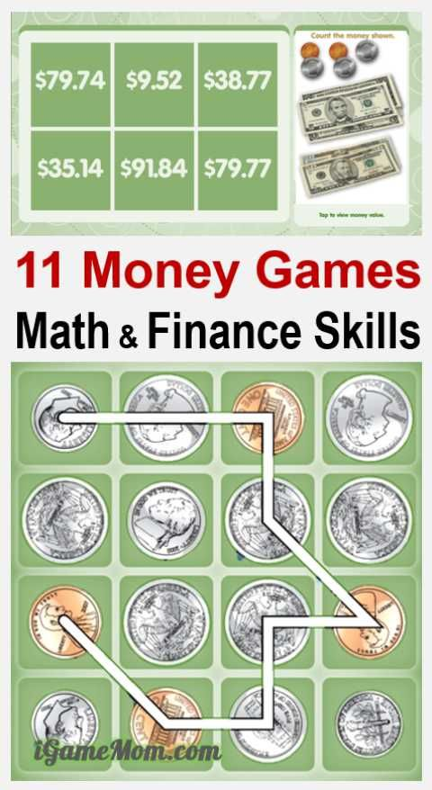 Raise money smart kids with fun money games teaching basic math and finance skills: count and calculate money value, know how much to spend, save and invest. For preschool kindergarten school age kids.