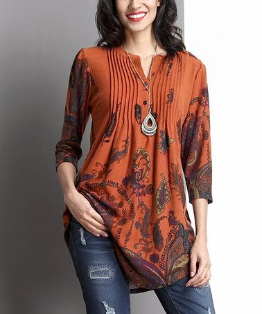 Loving this Orange Paisley Notch Neck Pin Tuck Tunic on #zulily! #zulilyfinds