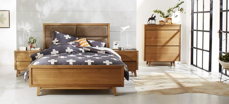 Retro Tasmanian Oak Bedroom Furniture Suite with Charcoal Patterned Linen and Natural Décor available at Forty Winks