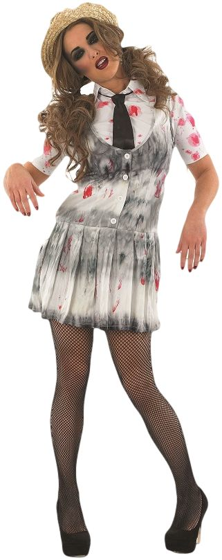 Zombie School Girl Costume, Comes with Dress with attached Skirt, Tie and Hat. #FancyDress #Costume #Zombie #Halloween #Blood #BloodSplattered #ZombieSchoolGirl #School #Girl