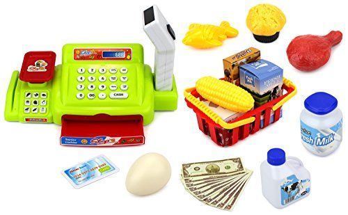 Velocity Toys Happy Little Shopper Pretend Play Battery Operated Toy Cash Register w/ Working Scanner, Mock Scale, Money, Credit Card, Groceries ** Check out this great product.