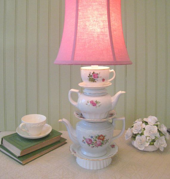 Teapot Lamp Floral Stacked Teapots Pink Roses Tea