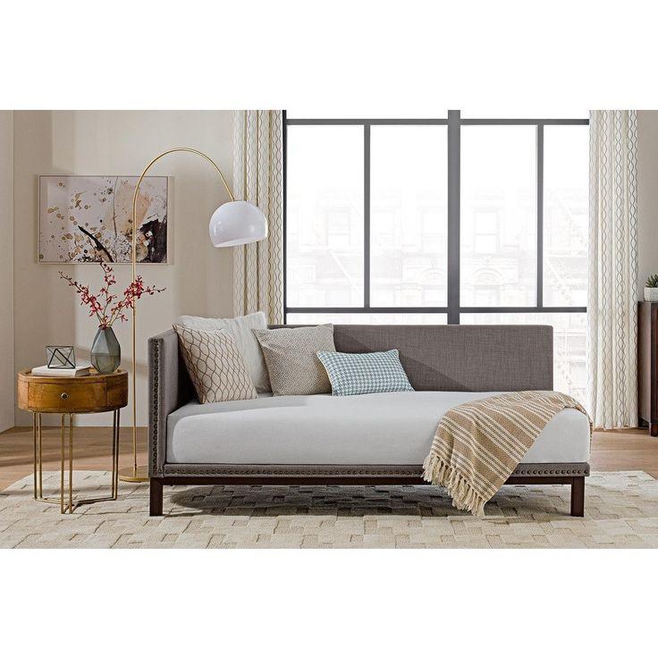 avenue greene dhp mid century grey upholstered modern daybed daybed grey linen size twin - Modernes Tagesbett Mit Ausziehbett