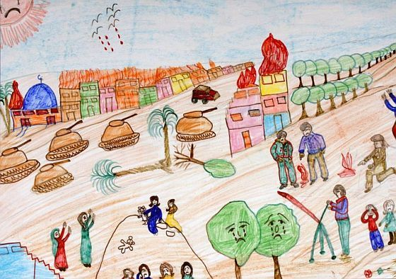 "A sample of children's art from Gaza, around 2009 as seen in ""A Child's view from Gaza"", published by MECA."