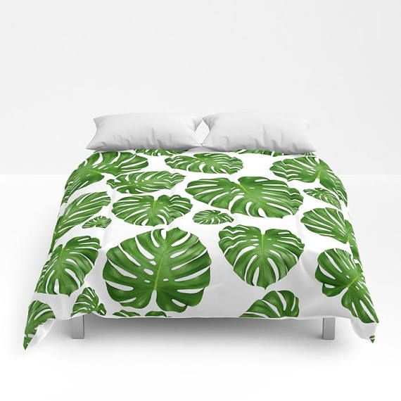Monstera Leaf Duvet Cover Or Comforter White Green Bedding Modern Nature Tropical Palm Island Bedspread Twin Full Bright Colorful Green Bedding Bed Spreads Duvet Covers