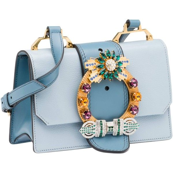 Miu Miu SHOULDER BAG ($1,890) ❤ liked on Polyvore featuring bags, handbags, shoulder bags, borse, purses, blue purse, blue shoulder handbags, man bag, handbags shoulder bags and buckle handbags