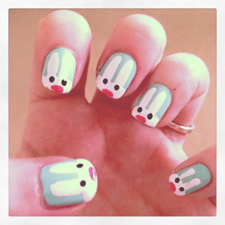 26 best rabbit nail art images on pinterest nail art beautiful bunny rabbits prinsesfo Image collections