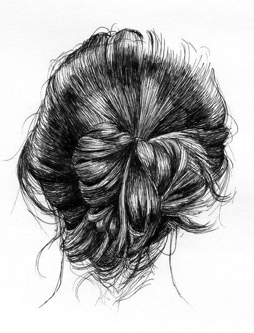: Sketch, Drawings Hair, Messy Hair, Art Inspiration, Hairs, Illustration, Art Drawings, Messy Buns, Hair Style