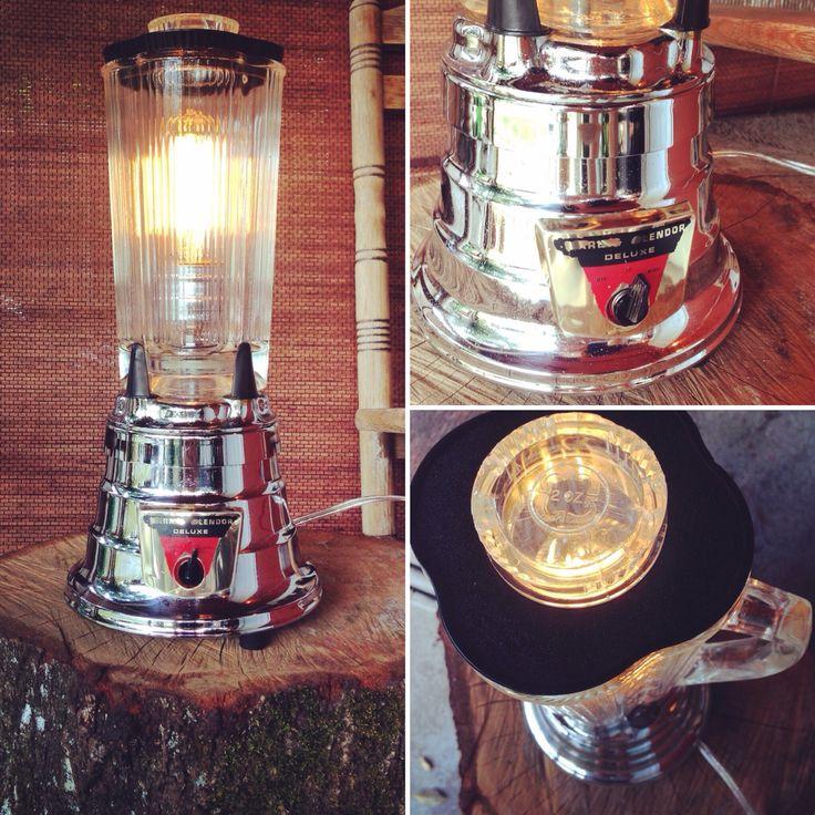 Repurposed mid century Waring blender to table lamp. #lighting #repurposed #reuse #recycle #reimagined #edisonbulb #steampunk #midcentury #midcenturymodern #chrome #industrial #lights #light #lamp #repurposing #crafts #crafting #diy