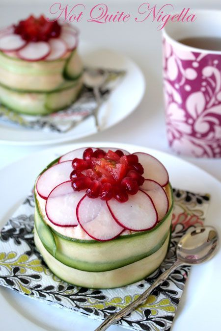 To reduce cost could use craisins instead of pomegranate seeds; ham in place of salmon and a dip I prefer over trout dip. Chicken salad might be good in a sandwich cake with cream cheese icing?