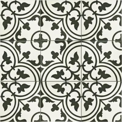 Merola Tile Arte White 9-1/2 in. x 9-1/2 in. Porcelain Floor and Wall Tile (10.76 sq. ft. / case)-FCD10ARW - The Home Depot