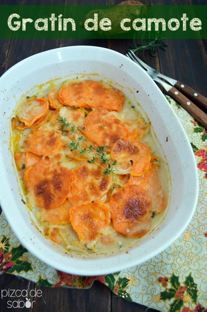 Gratín de camote con queso y hierbas www.pizcadesabor.com