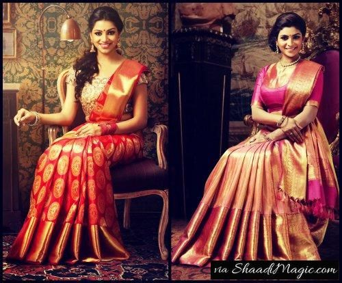 Colorful Shades Of Kerala Bride  Another style of wedding saree of Kerala is the Kanchipuram saree in prestigious color with golden work of zari.
