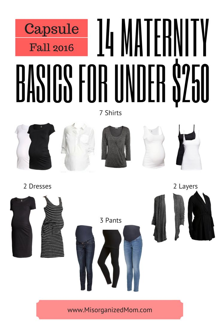 Build a basic maternity wardrobe to for under $250. 14 items and over 30 outfits.