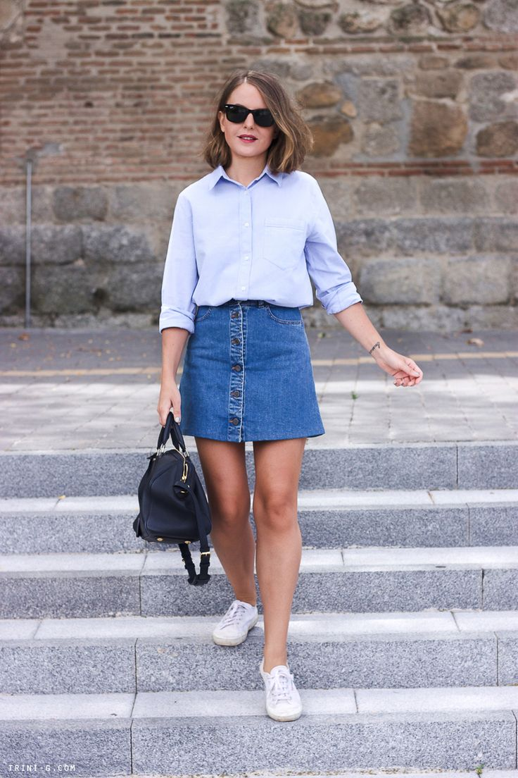 Trini | denim Stella McCartney skirt Club Monaco shirt Superga sneakers Louis Vuitton bag ...