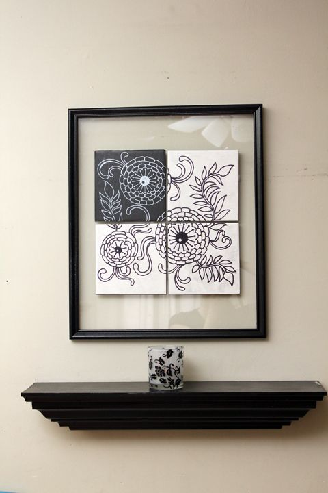 A black marker turns four leftover tiles into a piece worth displaying. Lack artistic talent? No worries — that's what stencils are for. Get the tutorial at 365 Days to Simplicity »   - HouseBeautiful.com