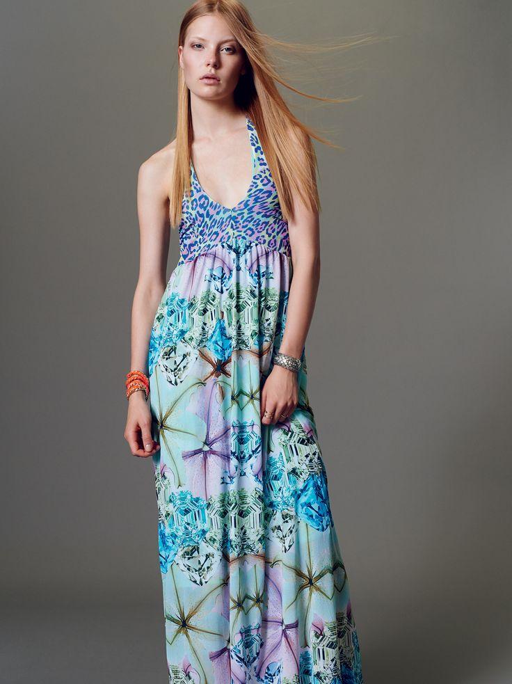 "NaughtyDog SS15 long dress with ""flowers, diamonds & leopard"" prints."