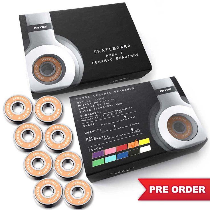 Pro Ceramic Skateboard Bearings For Sale High Speed No Rust ABEC-7 Orange V2.0 - PRE ORDER