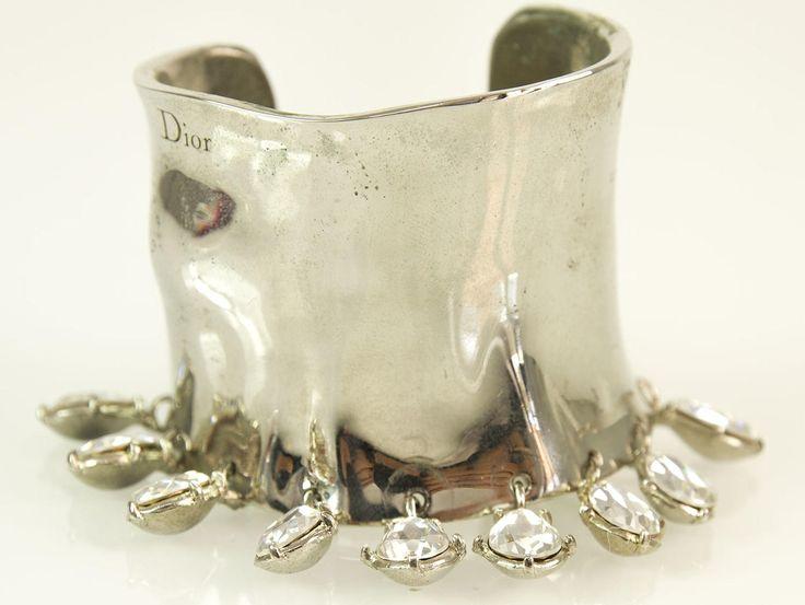 Christian Dior Silver Metal Wide Cuff Bangle Bracelet w/ Swarovski Crystals Box | swapshop.gr