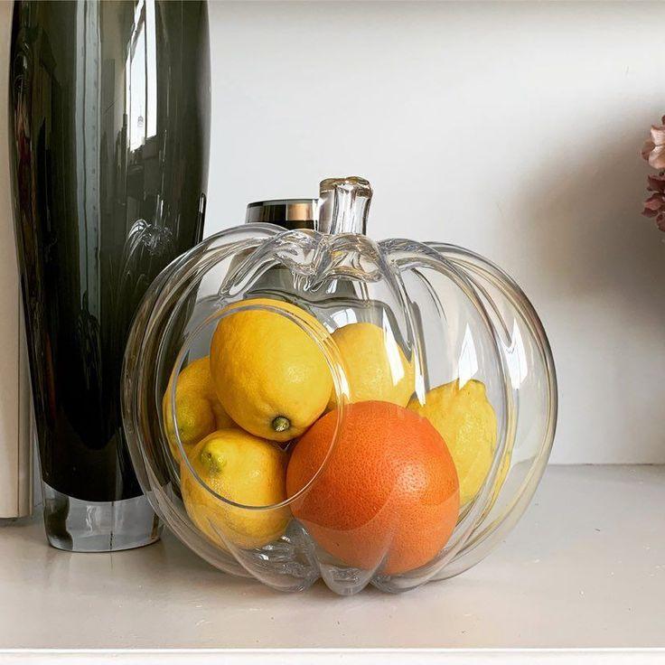 Large Glass Pumpkin Bowl 23cm Halloween Tablescape Ideas