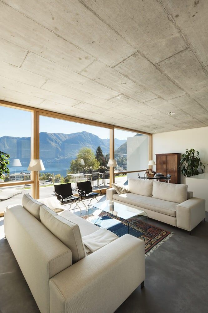 Beton Deckenplatten Haben Den Effekt Der Moderne Die Fr Ein Offenes Wohnzimmer Mit Boden