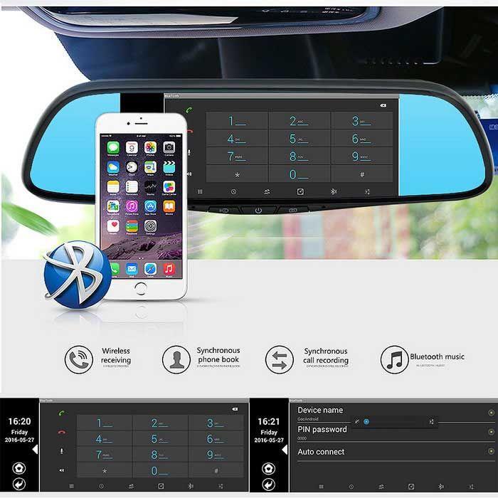"""Junsun 7"""" toca DVR del coche del bluetooth especial de la cámara del espejo GPS 16GB de doble lente 1080p grabador de tablero de levas"""