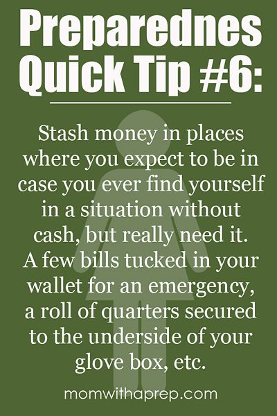 Preparedness Quick Tip #6: Stash Some Cash in Unexpected Places     {Mom with a Prep}
