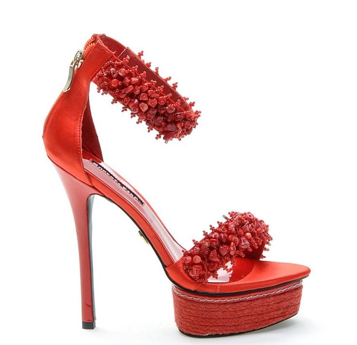 Sandali corallo Roberta Farc | Perlei - Rosso