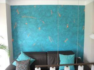 Wandgestaltung In Türkis Im Wohnzimmer Schmuckwand Wischtechnik Hingucker