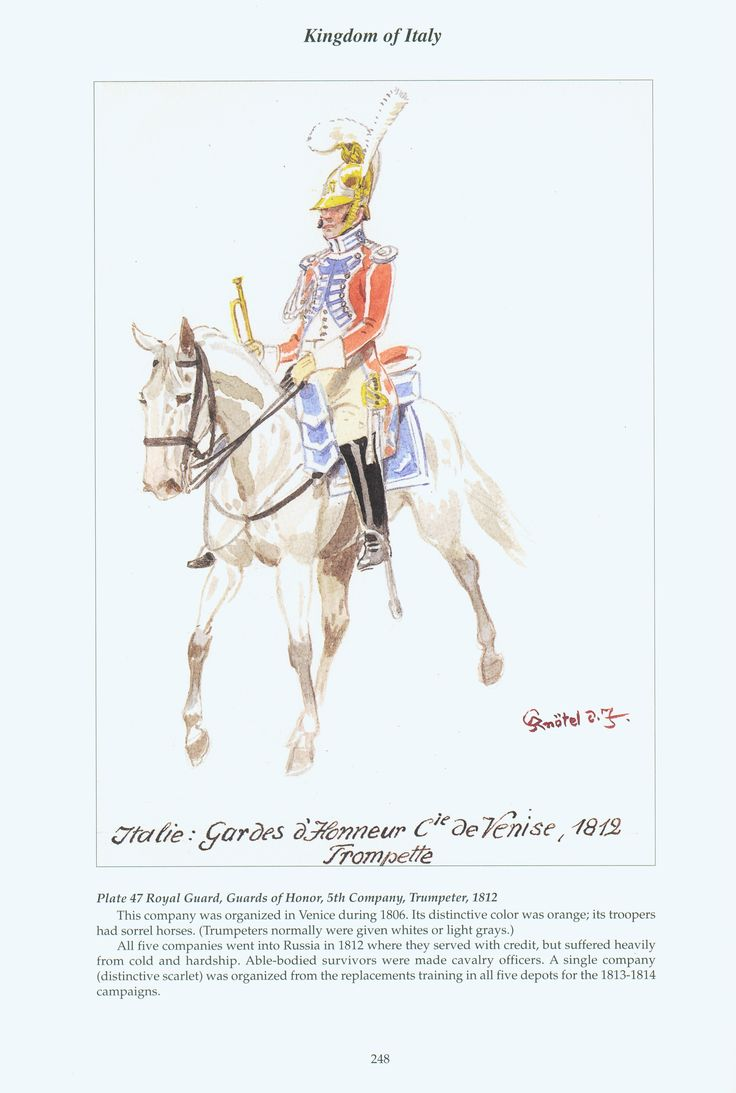 Kingdom of Italy: Plate 47: Royal Guard, Guards of Honour, 5th Company, Trumpeter, 1812