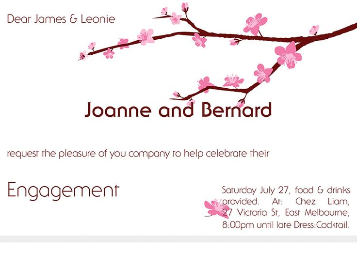 Cherry Blossom Engagement Invitation A6, or A5 folded to A6