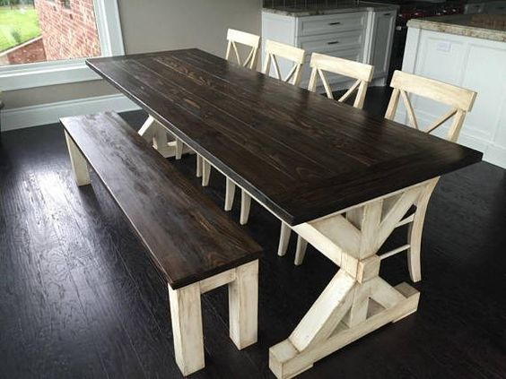 Antiqued Trestle Farm Table Set W/Breadboards