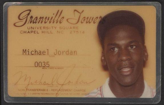 Michael Jordan North Carolina Meal Card