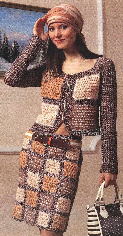 Экстравагантный костюм спицами. Описание вязания, выкройки
