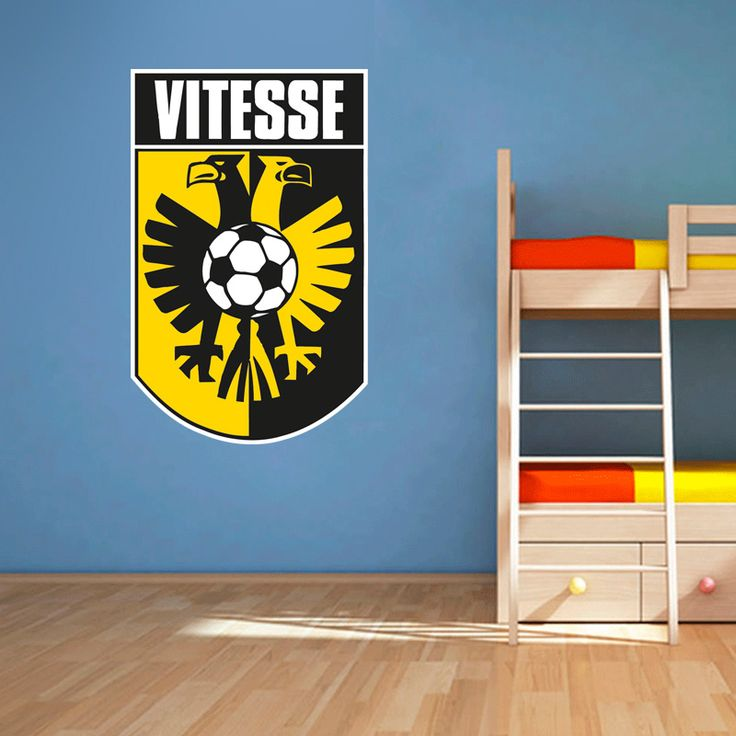 Muursticker Vitesse | Vrolijk die ene saaie muur op met een muursticker! Gemaakt van vinyl en gemakkelijk aan te brengen. Bekijk snel onze collectie! #muur #sticker #muursticker #slaapkamer #interieur #woonkamer #kamer #vinyl #eenvoudig #voordelig #goedkoop #makkelijk #diy #voetbal #sport #supporter #club #vitesse #arnhem #geel #zwart #logo #embleem